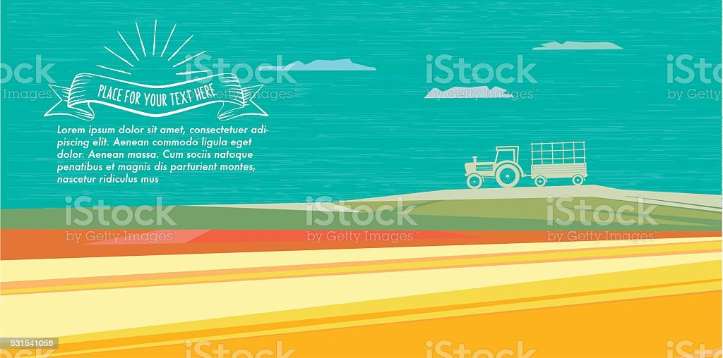 abstract flat colorful fall illustration with tractor and vintage badge vector art illustration