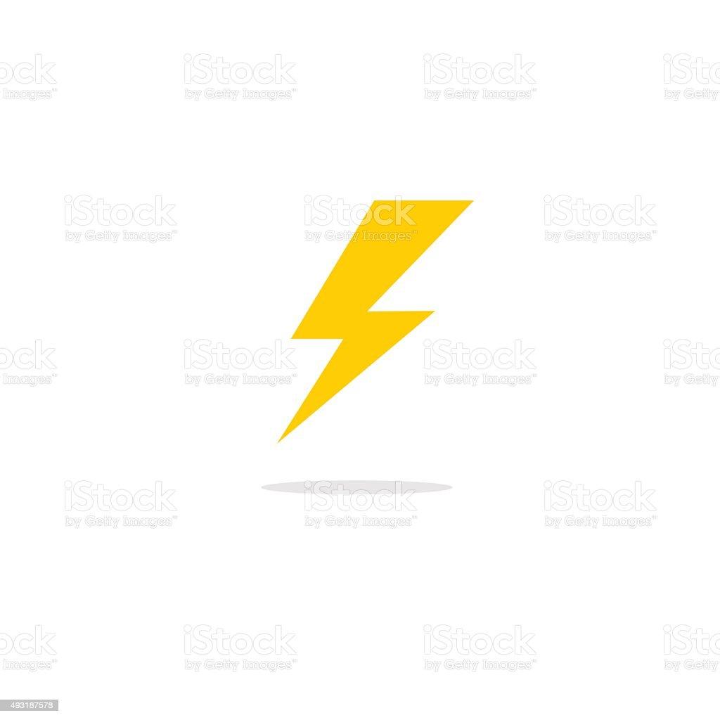 Abstract diseño plano vector thunder/lightning icono - ilustración de arte vectorial