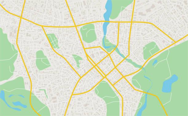 abstrakte flache karte der stadt. plan der stadt. detaillierter stadtplan. vektor-illustration - karte navigationsinstrument stock-grafiken, -clipart, -cartoons und -symbole
