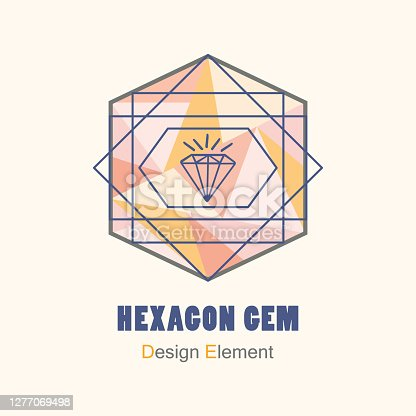 istock Abstract flat pink and orange triangle pattern inside hegzagon shape and blue geometric lines with gem icon design element 1277069498