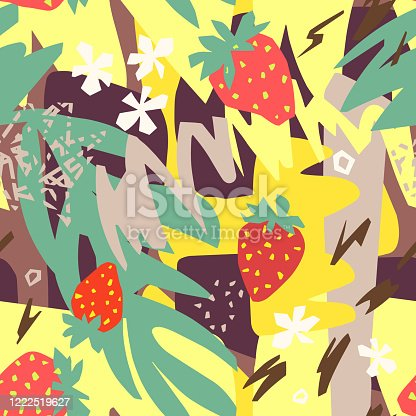 istock Abstract floral background, organic shapes, plants, berry, doodles. Cut out paper design, collage style. 1222519627