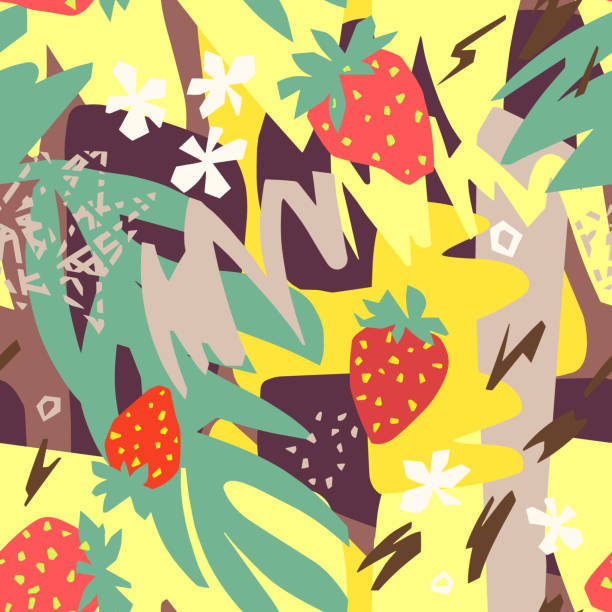 Abstract floral background, organic shapes, plants, berry, doodles. Cut out paper design, collage style. Cutout flowers, berries, leaves with geometrical shape and doodles. Abstract flat botanical seamless pattern. Collage made of floral paper cut shapes. For textile, fabric, wallpaper, wrapper. art and craft stock illustrations