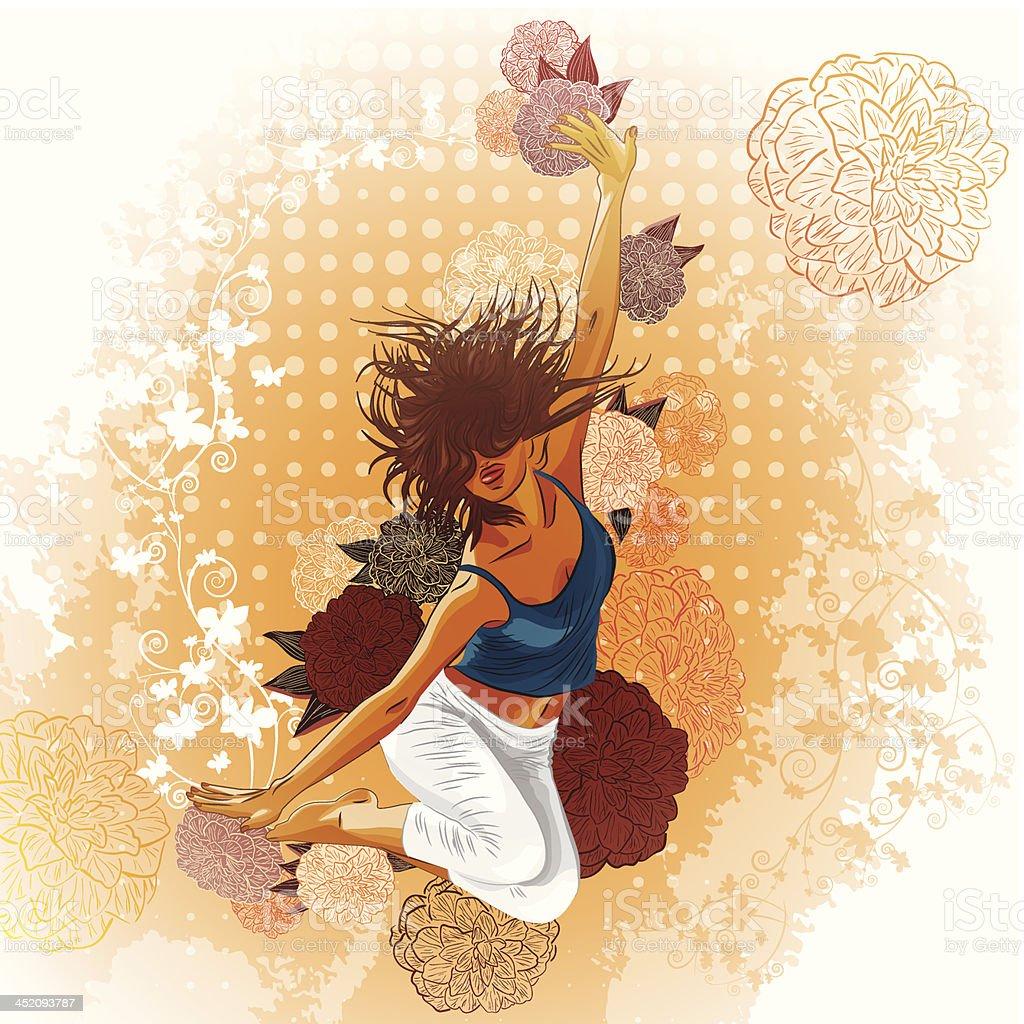 抽象的な花の背景に踊る女の子 のイラスト素材 452093787 | istock