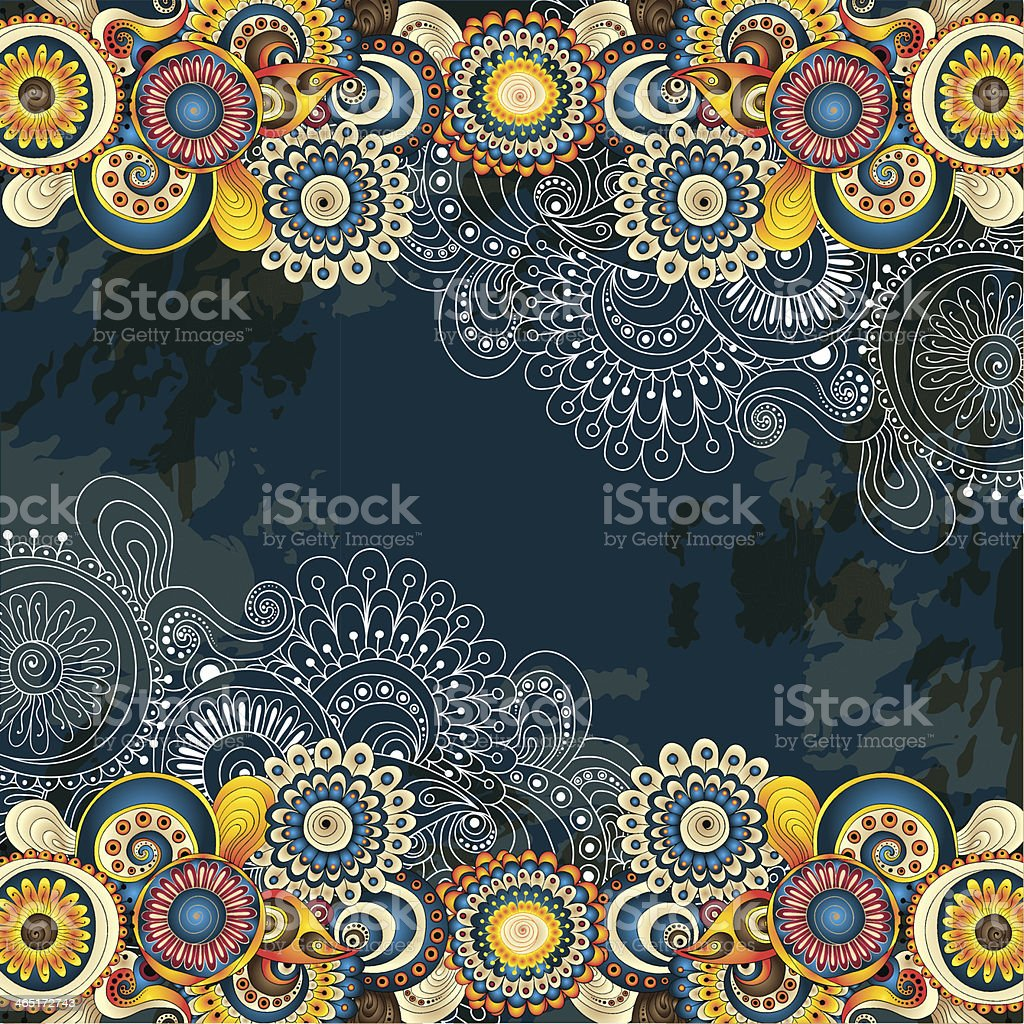 Abstract floral background with yellow and blue colors vector art illustration