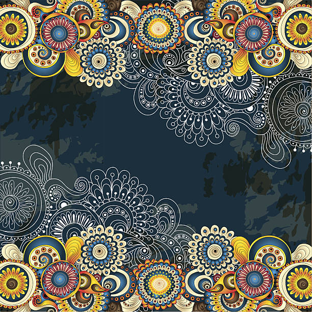 abstract floral background with yellow and blue colors - hippie fashion stock illustrations, clip art, cartoons, & icons