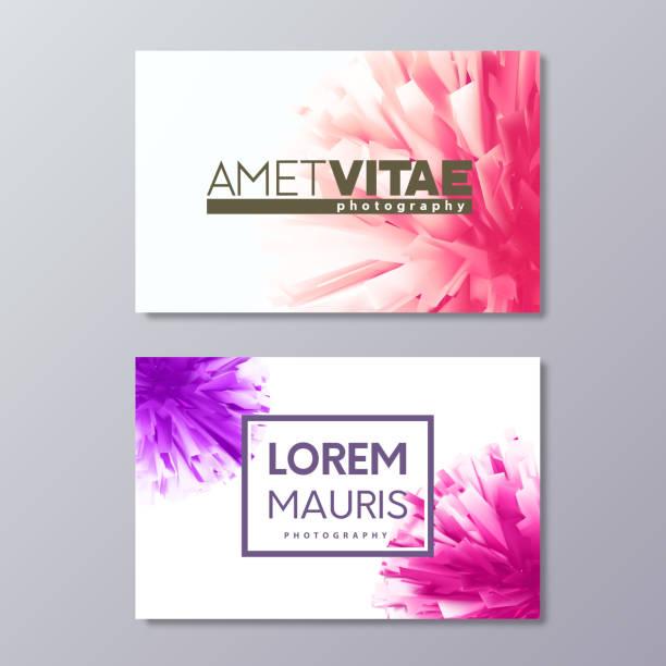 bildbanksillustrationer, clip art samt tecknat material och ikoner med abstrakta blommiga visitkortsmallar med färgglada vector designelement - makeup artist