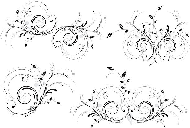 Abstract Floral Designs. Set of Four. vector art illustration