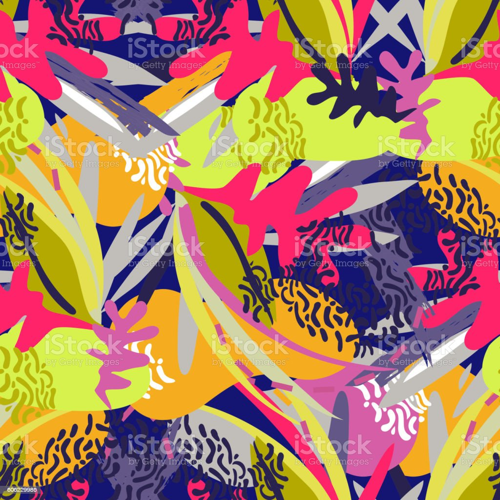 Abstract floral elements paper collage vector art illustration