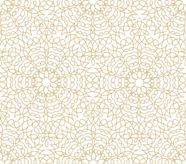抽象花線東方無縫花紋。阿拉伯瓷磚裝飾品。亞洲穆斯林的裝飾。花卉幾何裝飾背景。 - 錦緞 幅插畫檔、美工圖案、卡通及圖標