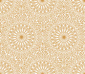 Abstract floral line oriental seamless pattern. Arabic tile ornament. Asian muslim decor. Flower geometric ornamental background. Floral ethnic tiled ornament with flowers.
