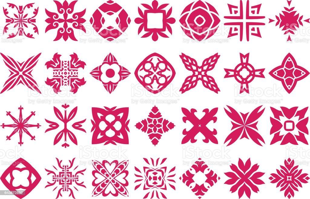 Abstract Floral Ornaments Set vector art illustration