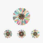 Abstract floral pattern icon collection