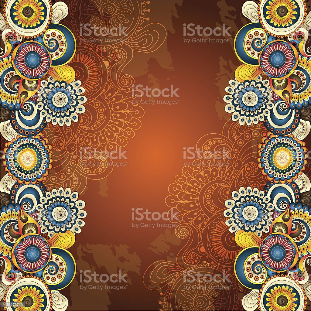 Abstract floral pattern on brown decorative background royalty-free stock vector art