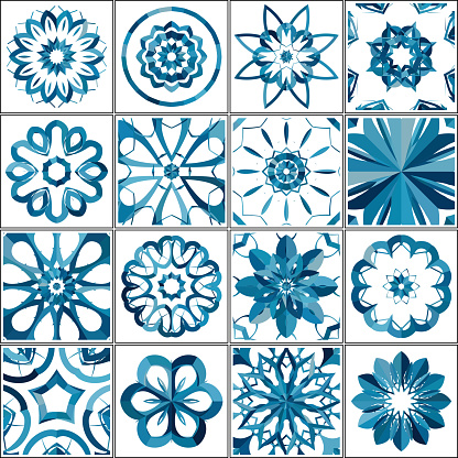 Abstract floral pattern tile collection