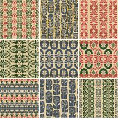 A collection abstract floral wrapping papers, 9 seamless pattern. (ZIP contains: AI8, CDR8, PDF)