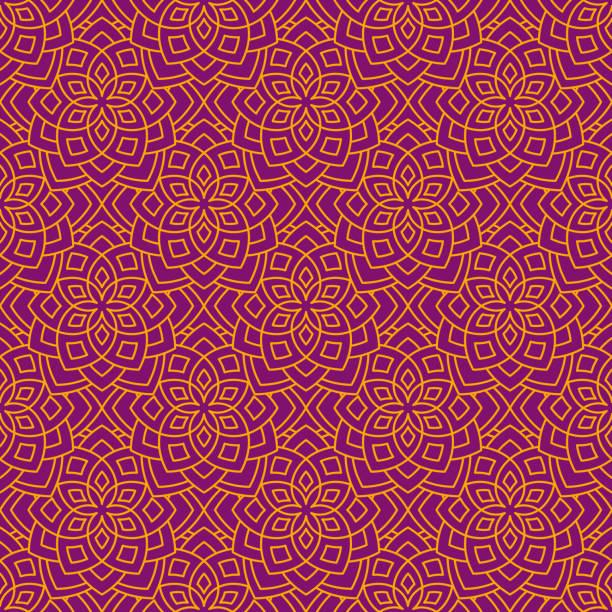 ilustrações, clipart, desenhos animados e ícones de abstrato floral padrão - lotus