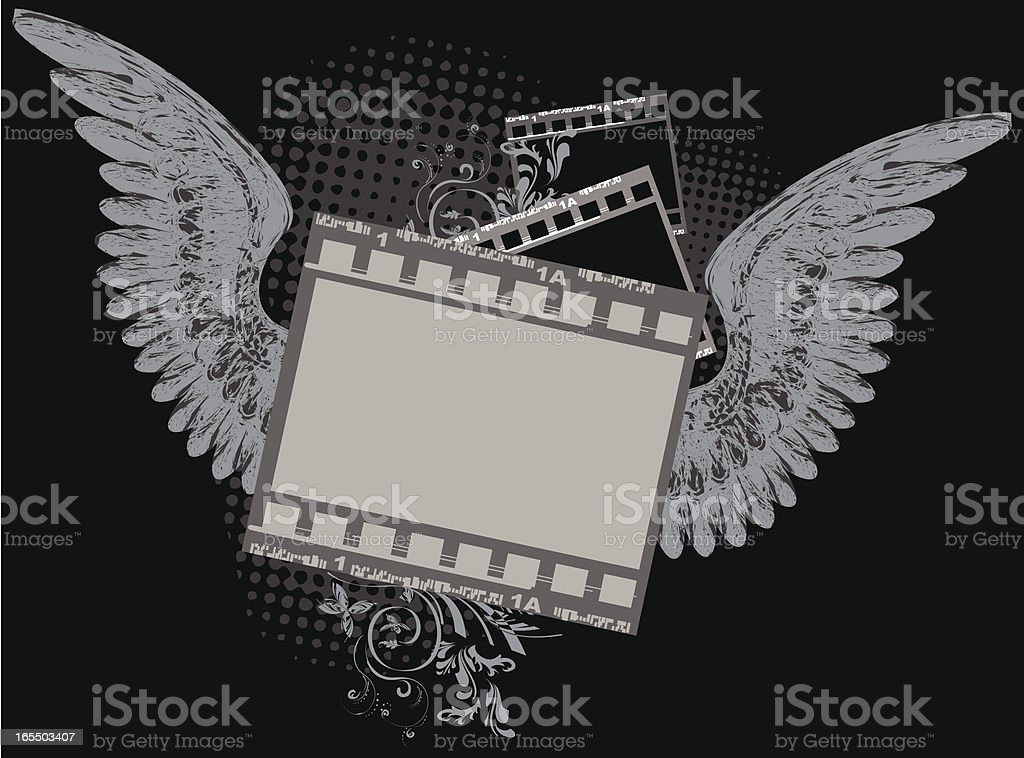 Grunge Camera Vector : Abstract floral photo frames with grunge wings stock vector art