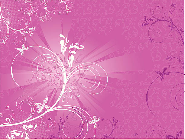Abstract Floral Pink vector art illustration
