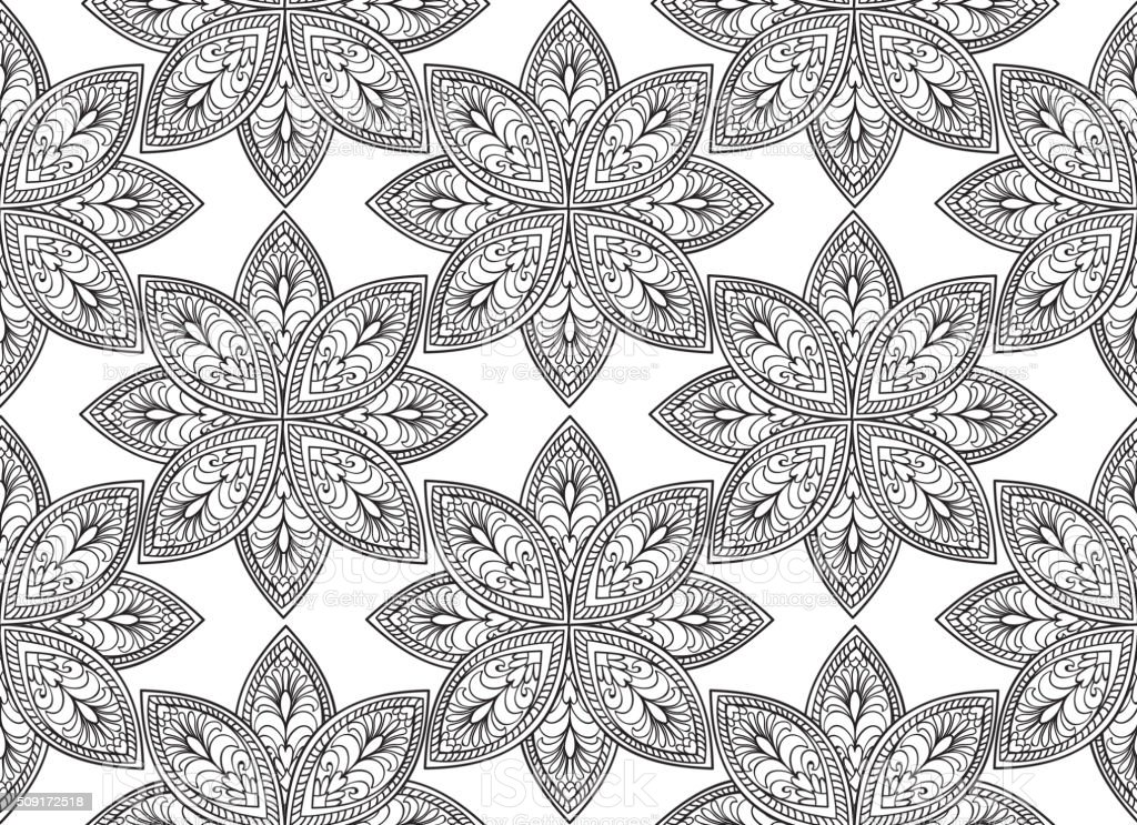 abstract floral seamless pattern black and white flower ornament royalty free abstract floral seamless