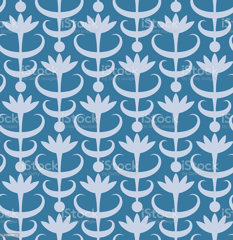Abstract floral seamless pattern. Classic ornament in retro style vector art illustration