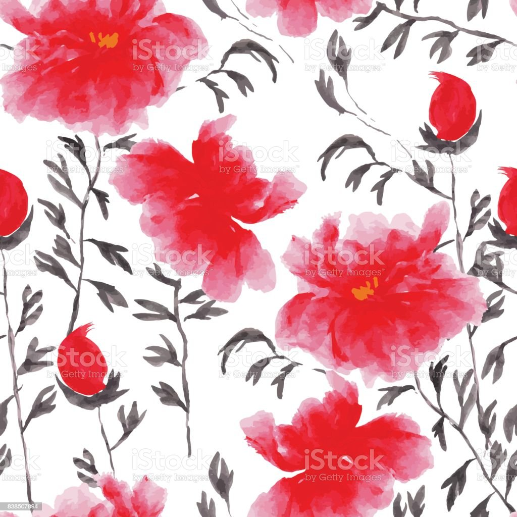 Abstract Floral Seamless Pattern In Japanese Folk Painting Style