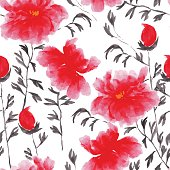 Abstract floral seamless pattern in Japanese folk painting style Sumi-e. Bright pink red  hand drawn fantasy peony flowers and branches on white background.Batik, wallpaper, album cover, textile print