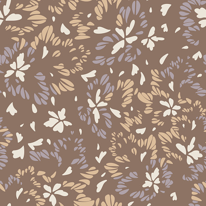 Abstract floral seamless pattern made of petals. Meadow ornament. Geometrical abstract shapes.
