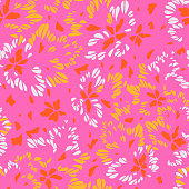 istock Abstract floral seamless pattern made of petals. Meadow ornament. Geometrical abstract shapes. 1220585817