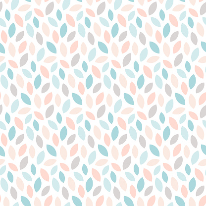 Abstract floral seamless pattern with leaves.  Scandinavian style geometric print in pastel colors. Vector wallpaper.