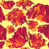 Abstract floral seamless wallpaper with decorative flowers.