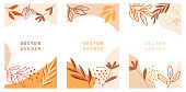 Set of abstract leaves vector modern stories background. Geometric floral illustration template background. Flat colorful liquid shape.