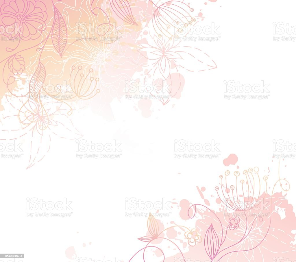 Abstract flower and butterflies design royalty-free stock vector art