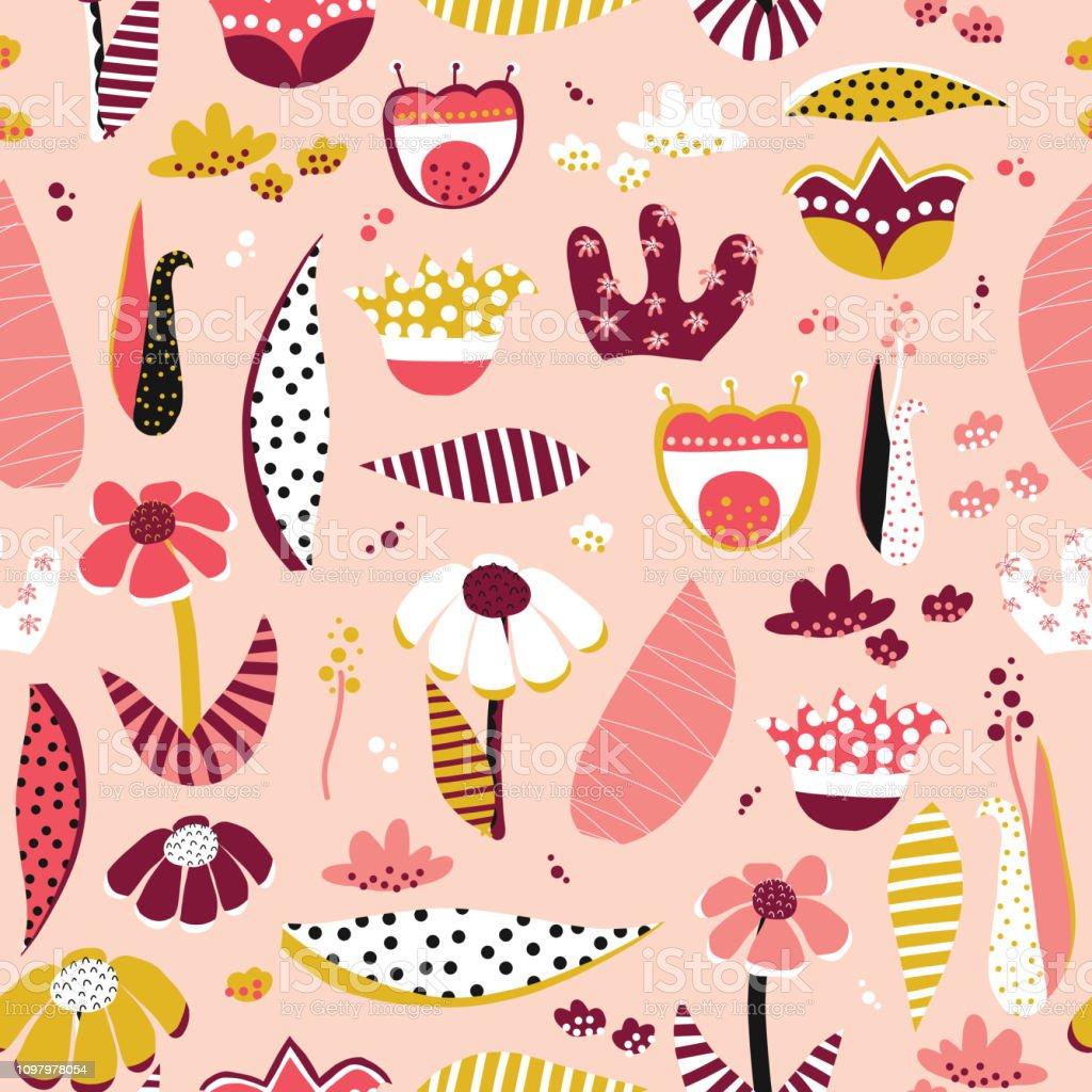 Abstract flower collage style vector pattern tile vector art illustration