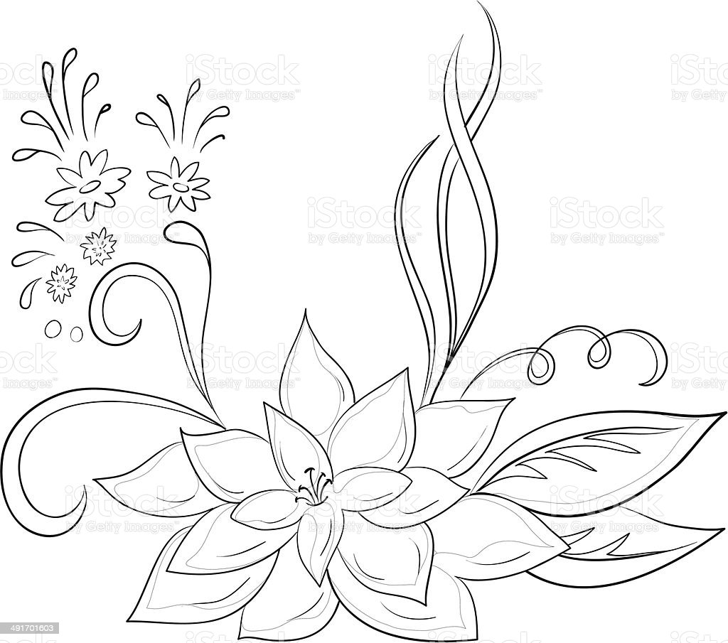 Abstract flower, contours royalty-free stock vector art