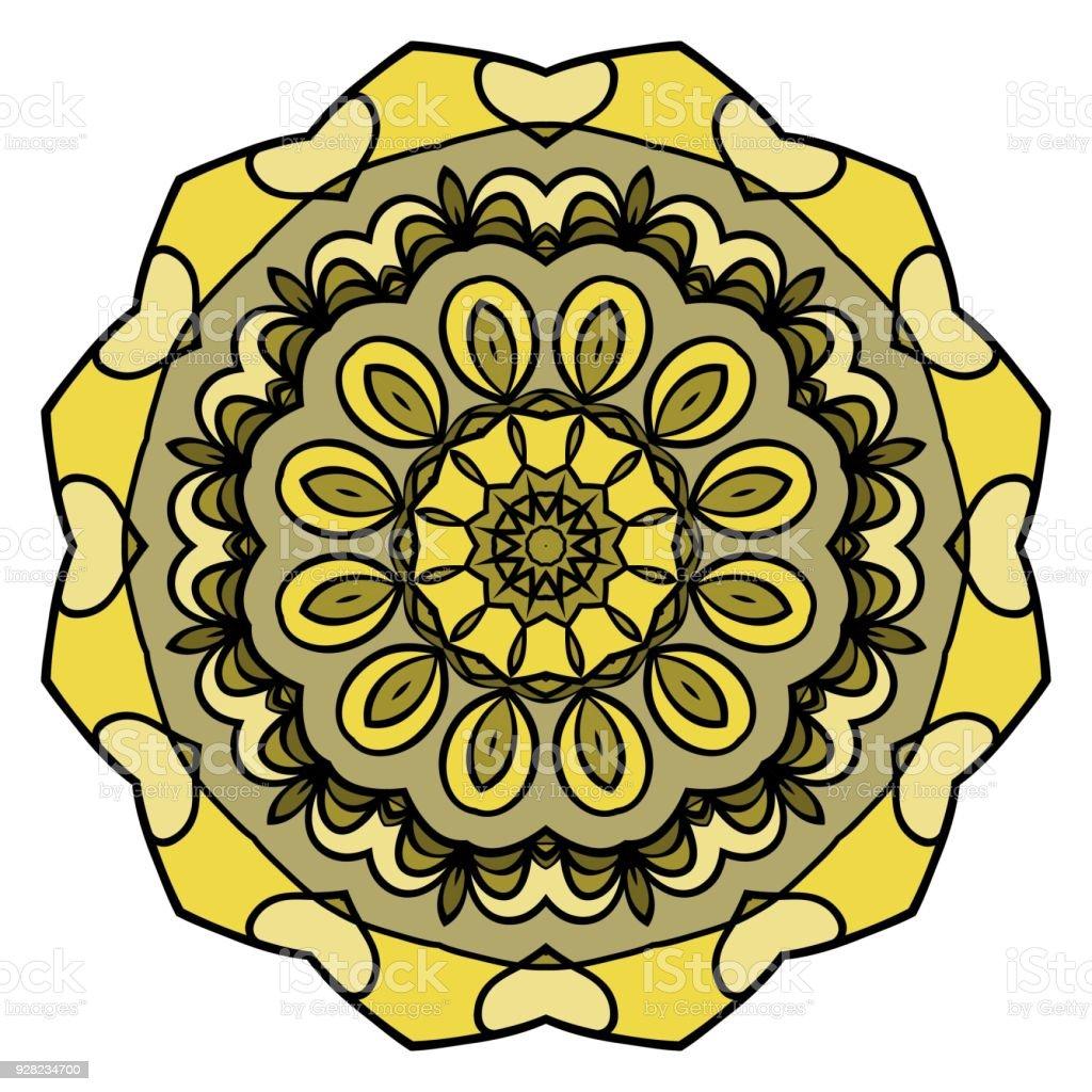 Cicek Tasarim Mandala Soyut Dekoratif Yuvarlak Elemanlari Oryantal