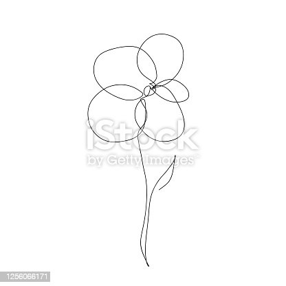 istock Abstract flower in continuous line art drawing style 1256066171