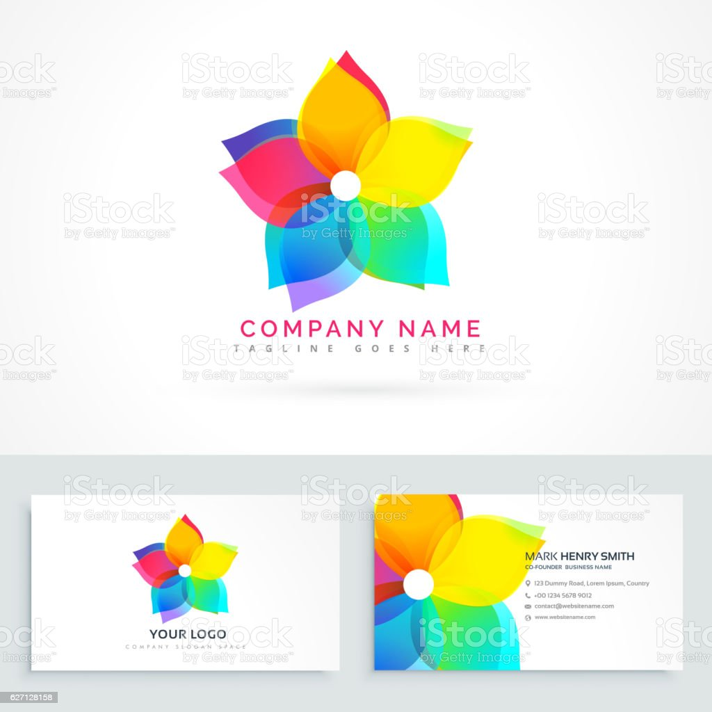 Abstract flower logo with clean business card download vetor e abstract flower logo with clean business card download vetor e ilustrao royalty free reheart Images