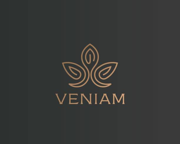 abstrakte blumen lotus icontype. luxus-krone lineare symbol. gold premium spa hotel vector zeichen. - pflanzenhaar stock-grafiken, -clipart, -cartoons und -symbole