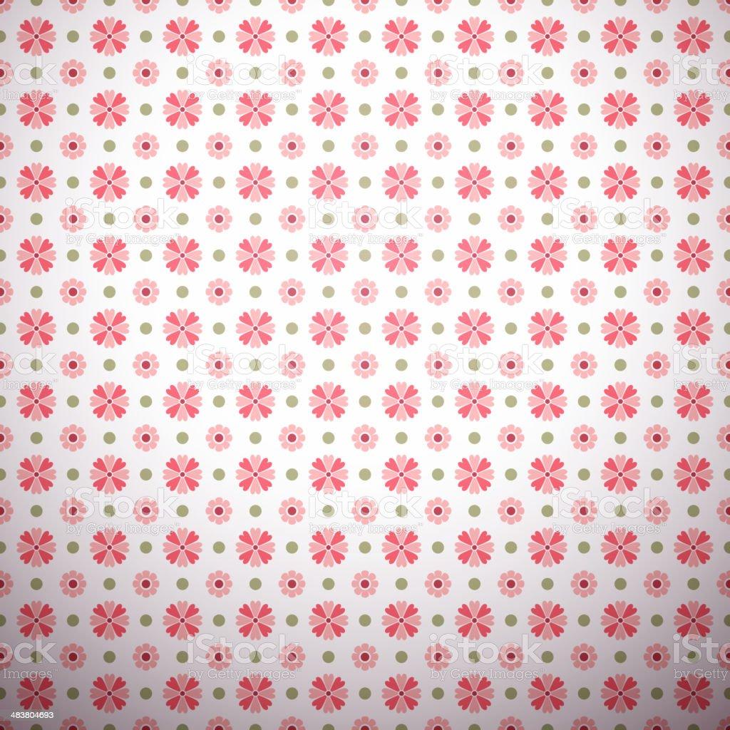 Abstract flower pattern wallpaper with polka dot vector art illustration