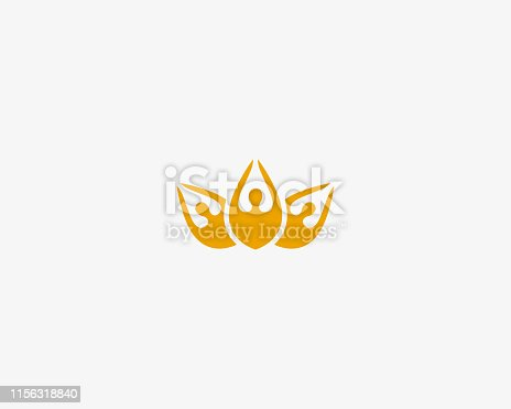 Abstract flower people logo. Crown lotus vector logotype