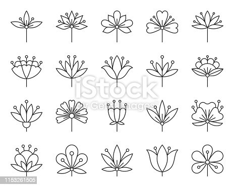 Abstract Flower thin line icon set. Outline sign kit of spring floral. Minimal Style linear icons of beauty pattern, tribal ethnic, chamomile. Flower bud simple symbol on white. Vector Illustration