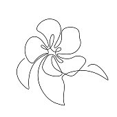 Abstract flower with leaves in continuous line art drawing style. Apple, cherry or peach tree blossom. Minimalist black line sketch on white background. Vector illustration