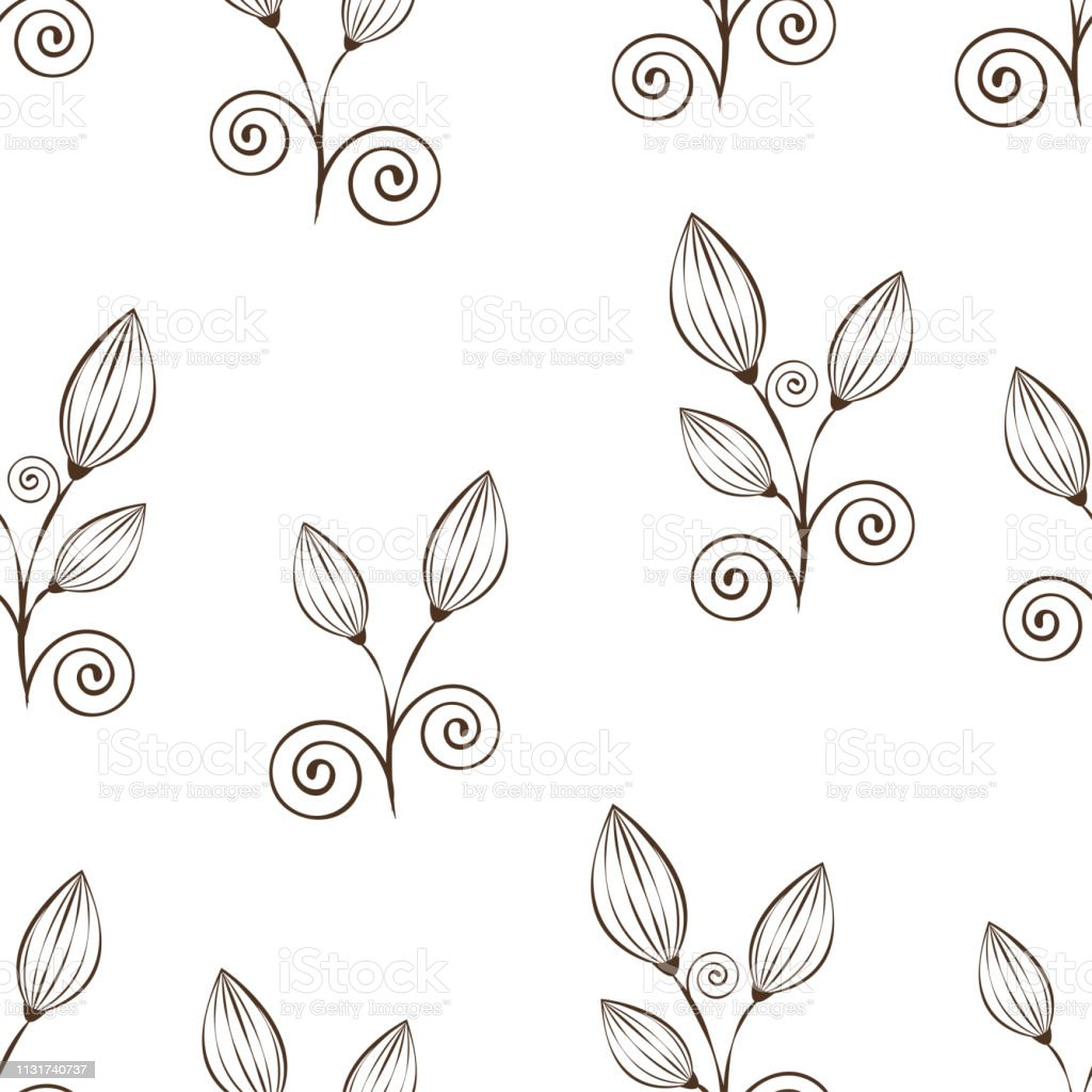 Abstract Flowers Seamless Pattern Black And White Outline