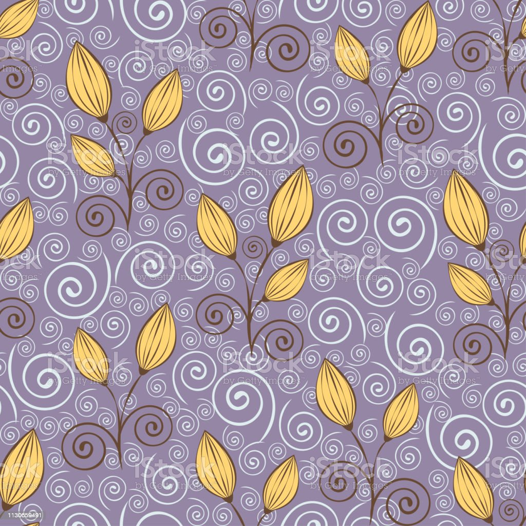 Abstract Flowers Seamless Pattern Outline Drawing