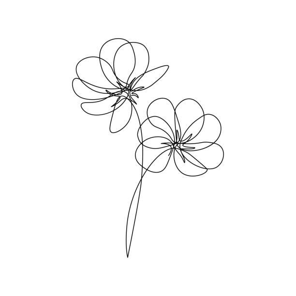 abstrakcyjne kwiaty - linia stock illustrations