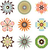 A set of flower icons.