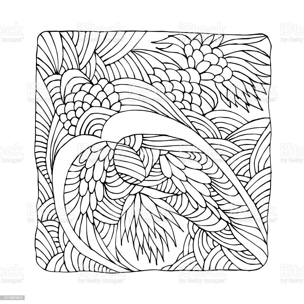 Zentangle Mit Abstrakten Blumen Stock Vektor Art Und Mehr Bilder Von