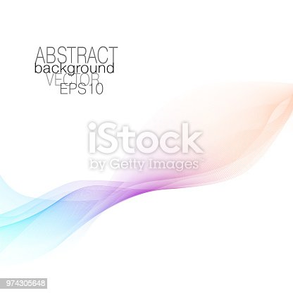 Abstract flowing soft waveform of pastel orange, purple, blue tones. Vector squiggle lines, wave pattern. Harmonious modern waving background. Art line futuristic fluid. Colored ribbon imitation. EPS10