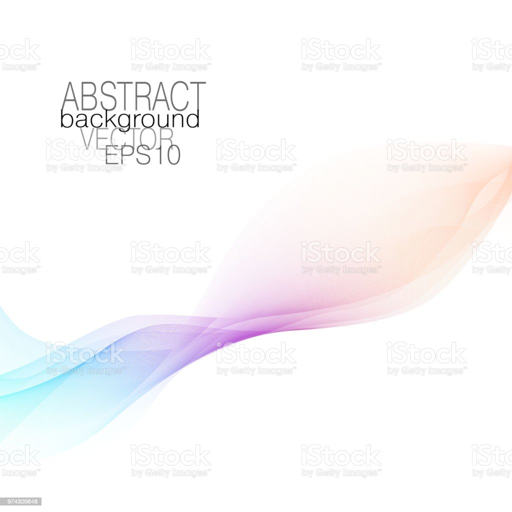 Abstract flowing soft waveform of pastel orange, purple, blue tones. Vector squiggle lines, wave pattern. Harmonious modern waving background. Art line futuristic fluid. Colored ribbon imitation. EPS10 vector art illustration
