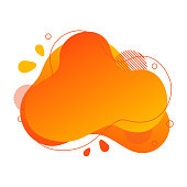 Abstract fluid design element. Minimalistic background for text. Wavy bubble banner, poster clipart with lines, dots. Gradient liquid orange flat shape. Geometric color illustration. Isolated vector